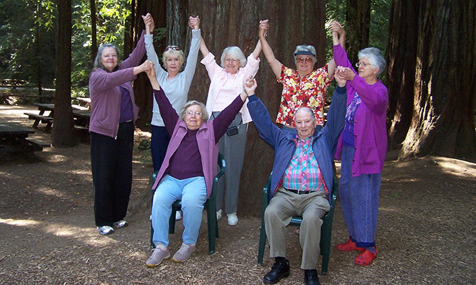 seniors doing gentle yoga in redwood park