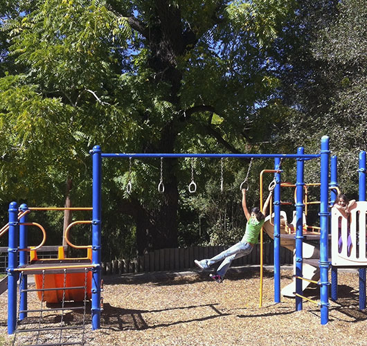 Photo of Girls enjoying Vacation Beach Dam playground, Guerneville California