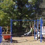 Girls enjoying Vacation Beach Dam playground, Guerneville California