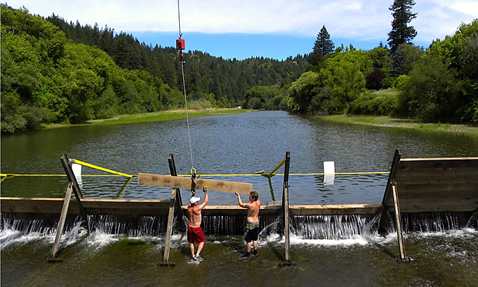 Vacation Beach Dam ~ Seasonal installation on the Russian River
