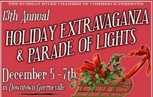 Graphic for Downtown Guerneville holiday extravaganza and parade of lights